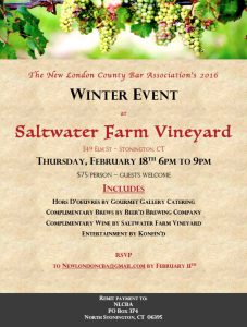 Join the NLCBA for our 2016 Winter Event at Saltwater Farm Vineyard!